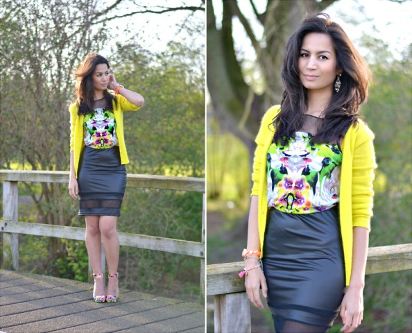 With printed shirt, black pencil skirt and yellow blazer