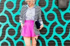 With printed shirt, striped jacket, beige cutout boots and velvet clutch