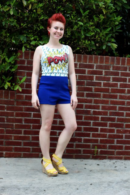 With printed top and yellow sandals