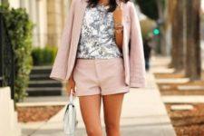 With printed top, light pink blazer, white mini bag and metallic heels