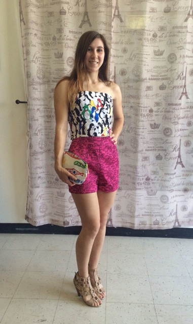 With printed top, nude sandals and printed clutch