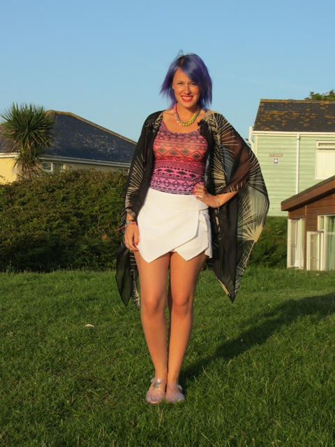 With printed top, scarf and flats