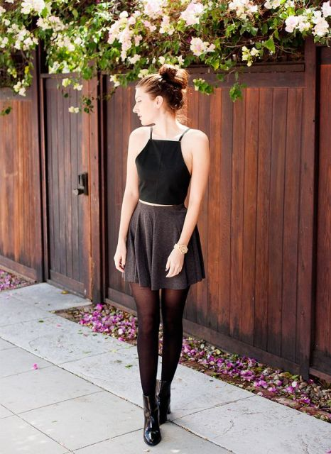 picture of with skater skirt black tights and black boots