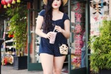 With straw hat, red pumps and funny bag