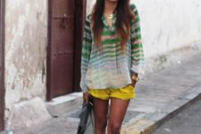 With striped loose shirt and brown boots