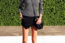 With striped shirt, crossbody bag and low heeled sandals