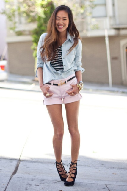 With striped shirt, denim shirt and black lace up sandals