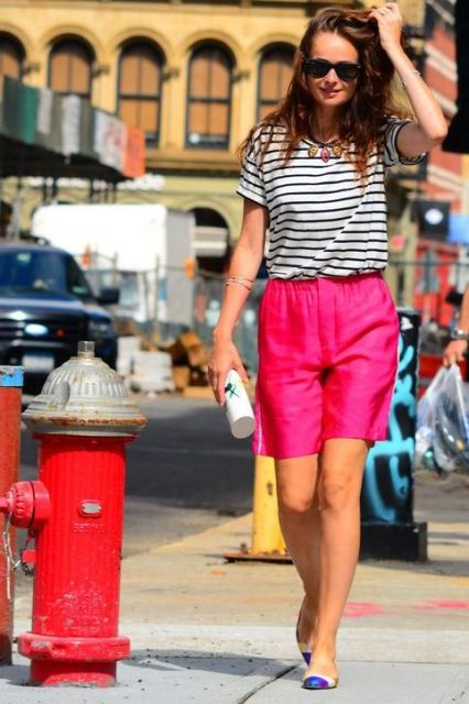 With striped shirt, necklace and two color flats