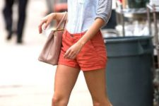 With striped shirt, two color shoes and pale pink bag