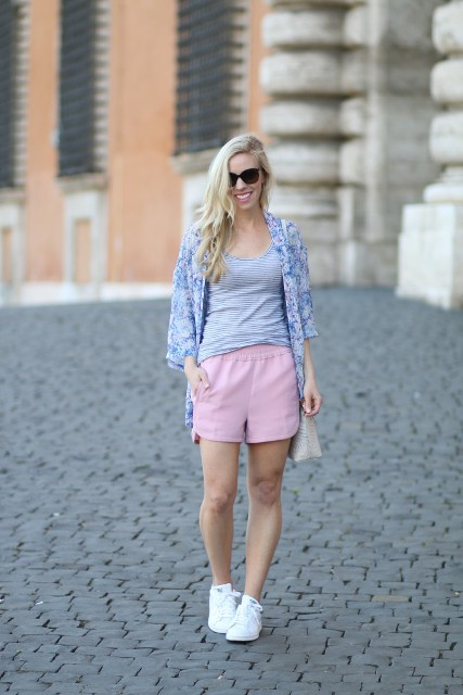With striped top, printed blazer and white sneakers