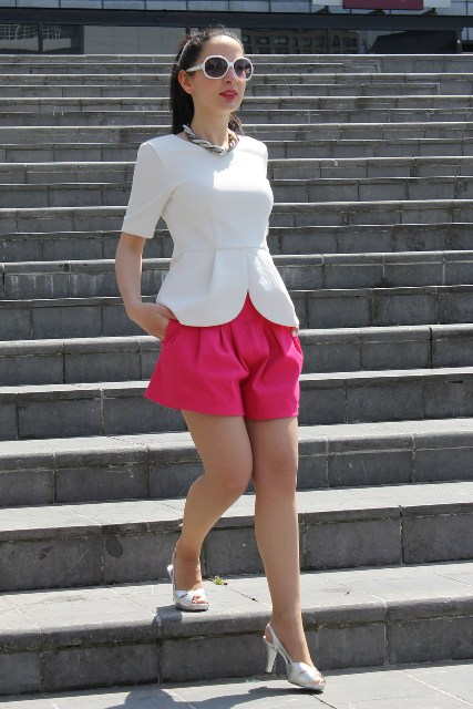 With white blouse and white shoes