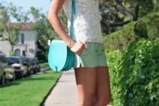 With white lace shirt, turquoise bag and white sandals