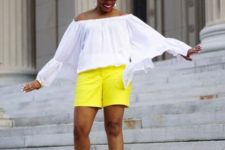 With white off the shoulder blouse, hat and brown shoes