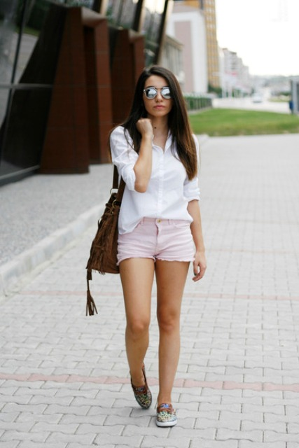 With white shirt and printed flats