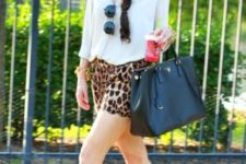 With white shirt, big tote and brown sandals