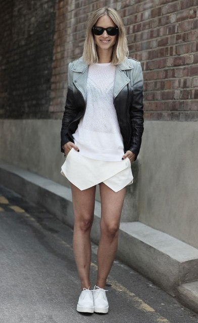 With white shirt, two color jacket and white sneakers