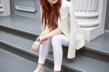 With white skinny pants and cream blazer