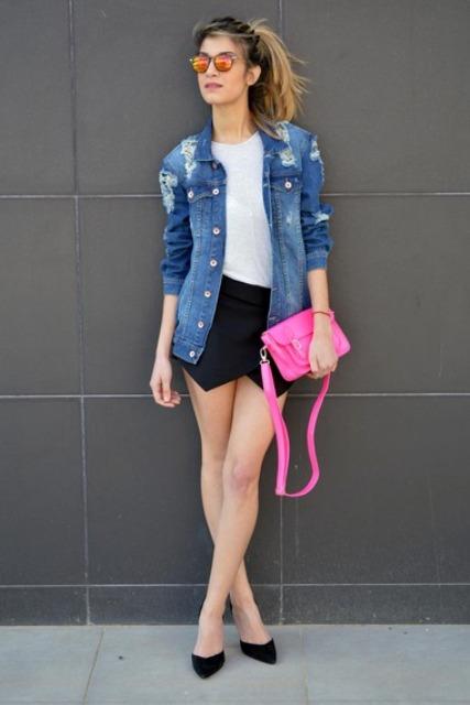 With white t shirt, denim jacket, hot pink clutch and pumps