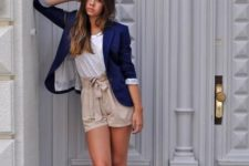 With white t-shirt, navy blue blazer and platform sandals