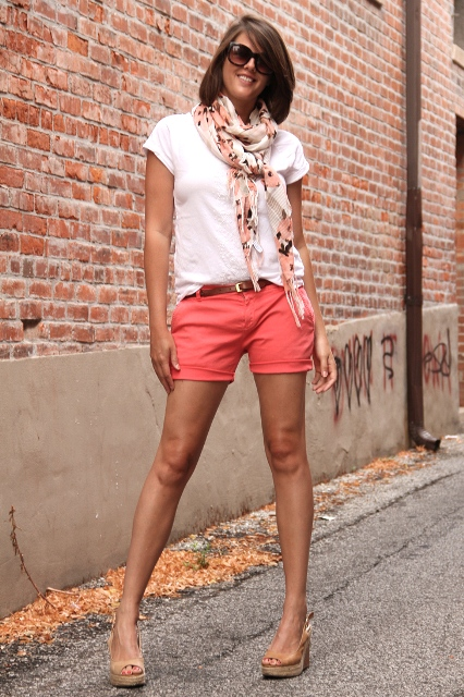 With white t-shirt, printed scarf and platform sandals