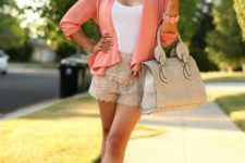 With white top, peach blazer, beige bag and platform shoes