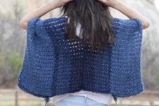 DIY navy V-neck crochet poncho