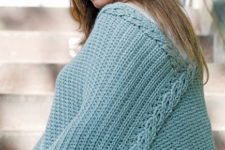 DIY turquoise colored crochet plus size poncho