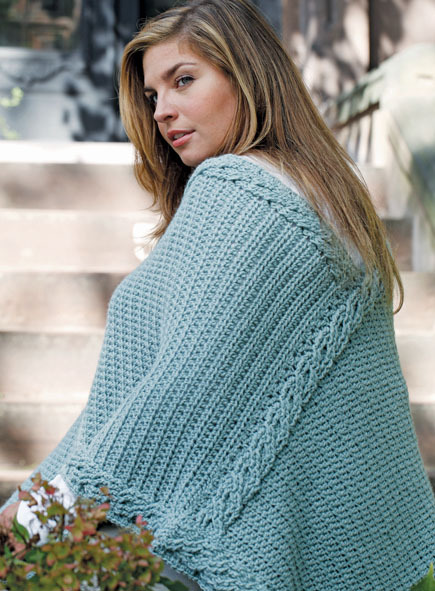 DIY turquoise colored crochet plus size poncho (via www.craftfoxes.com)