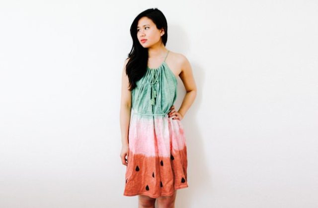 DIY colorful watermelon dress for summer (via www.styleoholic.com)
