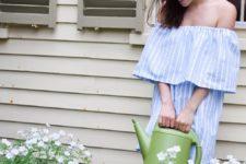 DIY striped off the shoulder summer dress