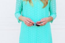 DIY turquoise lace summer dress