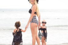 02 a black top and a high waist bottom swimsuits for the mom and her daughters