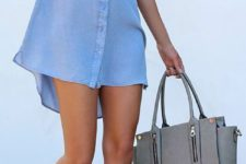 02 a blue shirt dress, grey suede lace up shoes and a grey bag