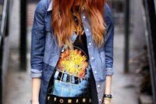 02 a bold printed oversized t-shirt, a denim jacket and bracelets
