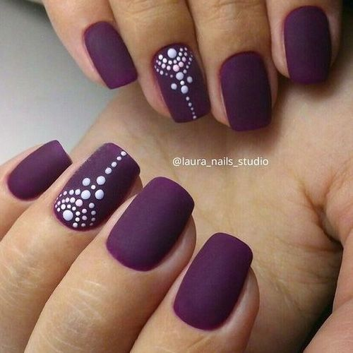 Picture Of Matte Deep Purple Nails With Accent Ones With A Tribal