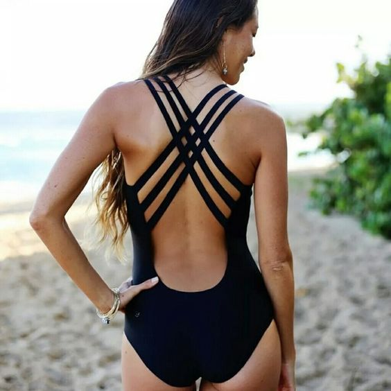 navy one-piece swimsuit with a strappy criss-cross back