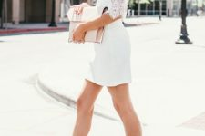 02 short white dress with lace half sleeves and colorful floral ankle strap heels