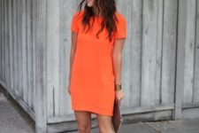 03 a bold orange mini dress with short sleeves and nude heels