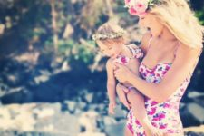 03 a pink floral one piece swimsuit for the mom and two piece for the daughter