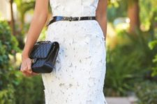 03 belted white shift lace dress with heels is a simple and cool choice