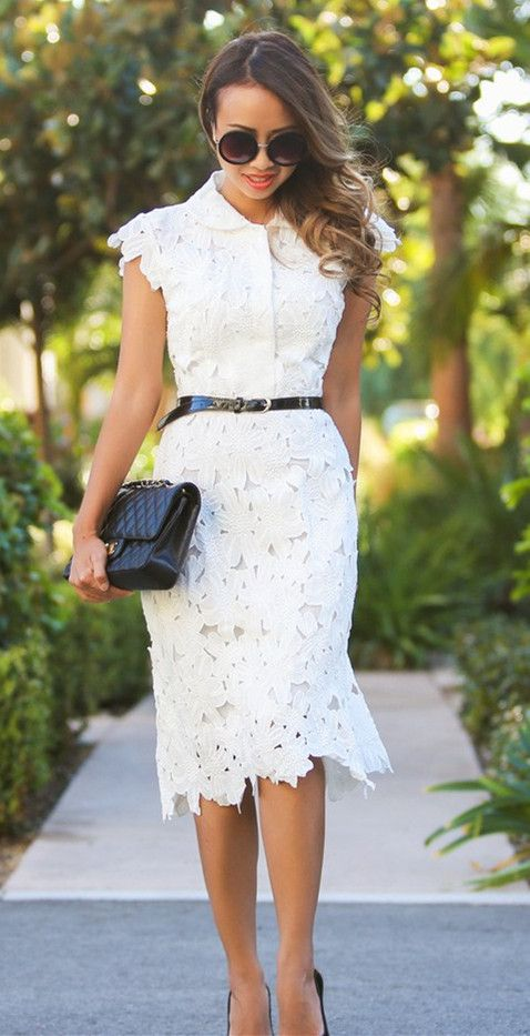 belted white shift lace dress with heels is a simple and cool choice