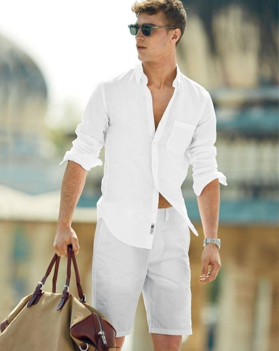all-white summer look with white shirts and a white shirt for a white beach party