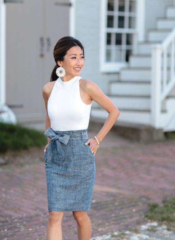 chambray bow skirt and a white halter top