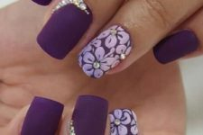 04 matte deep purple nails with rhinestones accents and floral designs
