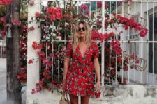 04 red summer flower dress with a black and white print