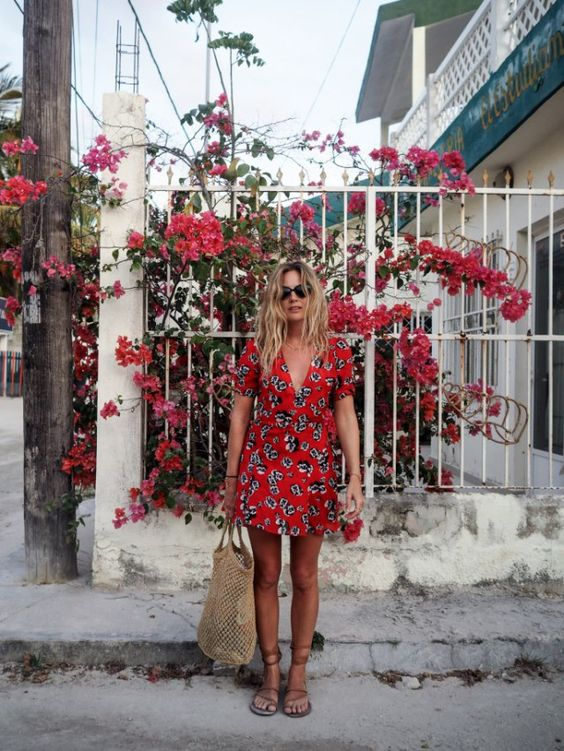 red summer flower dress with a black and white print