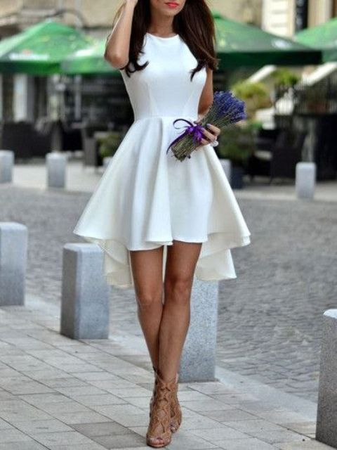 sleeveless asymmetric hem high low flare dress in white