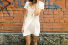 05 a plain white mini dress with short sleeves and red chucks