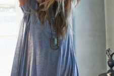 05 an oversized grey t-shirt is worn here like a dress with a hat and some boho accessories