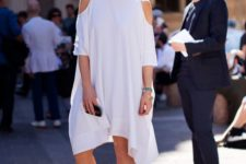 05 modern plain dress with a cold shoulder and an asymmetric edge, nude shoes